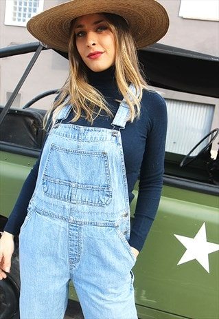 Pale Wash Blue Denim Straight Leg Dungarees