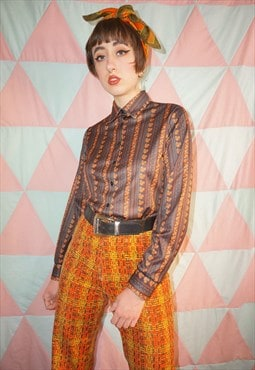 Vintage 70s Brown Floral Stripe Patterned Shirt