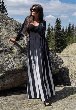 Black White Long Maxi Skirt/Flat/Floor length/Elastic/F1701