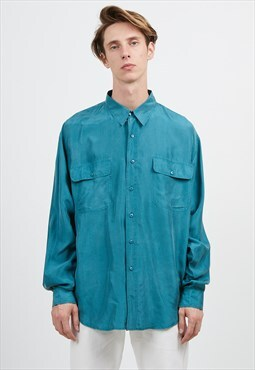 Vintage Blue PURA SETA Long Sleeve Silk Shirt