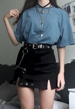 Gothic High Waist A-line Mini Skirt - No Belt