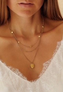 Circle Necklace Layering Set Gold Plated / 2 Necklaces Set