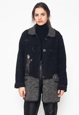 Vintage Black Wool Blazer Jacket