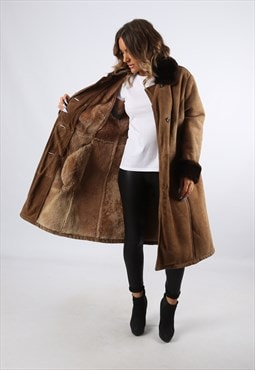 Sheepskin Suede Leather Shearling Long Coat UK 16 (LH4H)