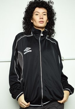 Vintage 90s retro UMBRO sports tracksuit jacket black