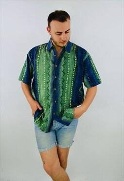 Vintage Pattern Hawaiian Shirt Top Button Down