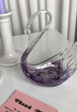 Vintage Handblown Purple & Clear Murano Style Glass Swan