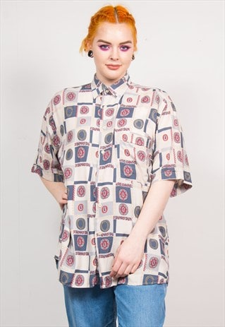 VINTAGE 90'S MULTICOLOUR PAISLEY PATTERN OVERSIZED SHIRT
