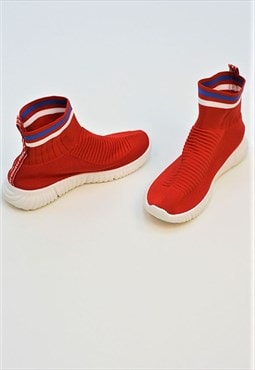 Red chunky sole high runner sock trainers
