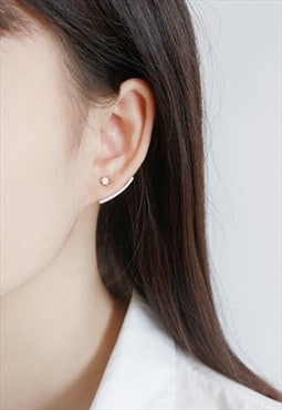 Silver Arcuated Stud Earrings