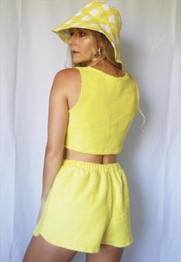 Yellow towelling shorts