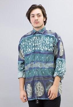 Vintage Green Licron Aztec Pattern Shirt