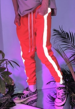 Slim fit reflective stripe joggers long lace pants in orange