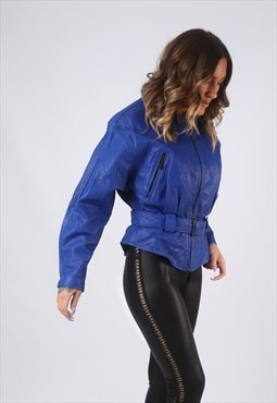 Leather Jacket Fitted Biker Coloured Bomber  UK 10  (CKBQ)