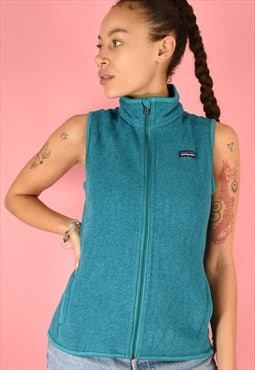 Vintage 90s Patagonia Fleece Sleeveless Blue Full Zip