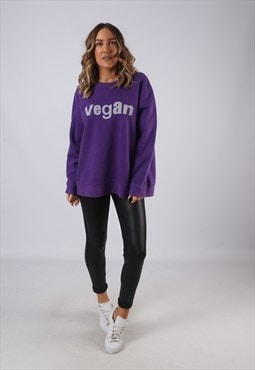 Vintage VEGAN Sweatshirt Oversized Print UK 18 (L2J)