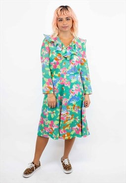 Vintage 70s Green Abstract Pattern Dress
