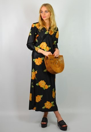 VINTAGE 70S BLACK & ORANGE FLORAL PRINT BOHO MAXI DRESS