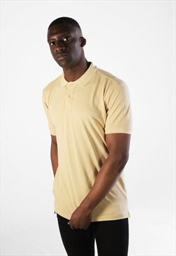 Essential Short Sleeve Collared Polo Shirt Top - Cream Beige