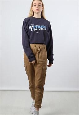 Vintage Reebok L Navy Cropped Print Sweatshirt