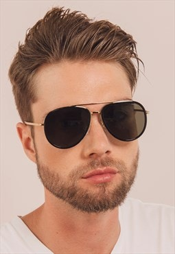 Sunny Black Mens Stainless Steel Aviator Sunglasses