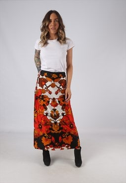Floral Print Skirt High Waisted Long Patterned UK 12  (W4G)