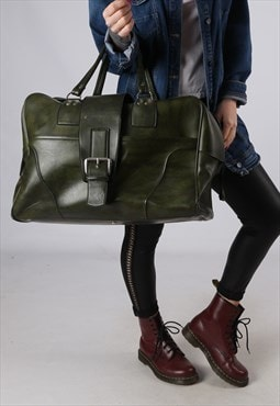 Vintage Large Weekend Holdall Leather Bag Green  (GA4C)