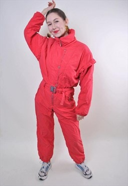 Red one piece ski suit, vintage women hooded snow suit