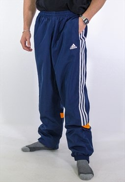 Vintage Adidas Leg Logo Joggers in Blue Medium