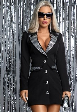 Black blazer dress with silver panel detail