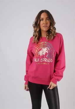 Sweatshirt Jumper Oversized USA PALM SPRINGS Print 12 (CKHR)