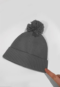 Ski Bobble Knitted Ribbed Beanie Hat - Dark Grey