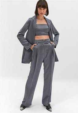 Satin Finish Trousers With Darts