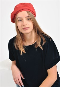 New, handmade suede leather beret in red