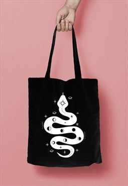 Space Snake Moon Phase Print Cotton Tote Bag  White on Black