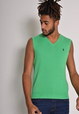Vintage Polo Ralph Lauren Short Sleeve Vest Jumper Green
