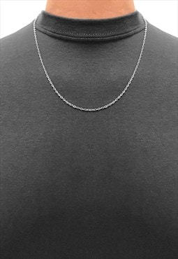"20"" 925 Sterling Silver Slim Curb Necklace Chain"