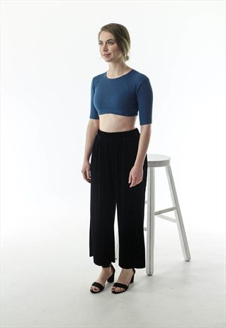 BLUE CROPPED TOP / EXTRA SMALL RIBBED KNIT
