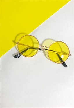Round Metal Yellow Tint Sunglasses