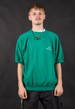 80's Champion Green Small Logo  Sweatshirt - B1024