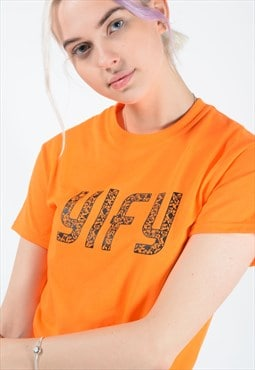Neon graphic print t-shirt in orange