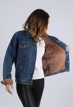 Vintage Denim Jacket Patterned Print Lined UK S 10  (J2X)