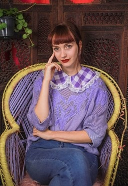 Gingham and lace detachable Collar w/ vintage fabric