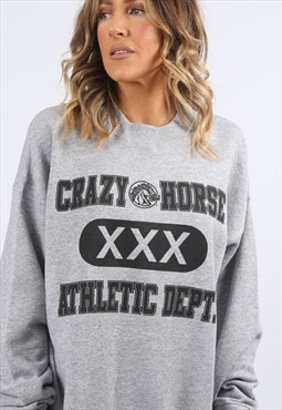 Sweatshirt Oversized ATHLETIC Logo Print UK 16 18 (A8CW)