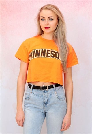 1990S VINTAGE VIBRANT ORANGE REWORKED CROP TOP T SHIRT