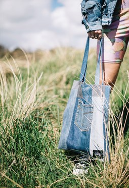 Tote Bag In Panelled Denim With Pocket