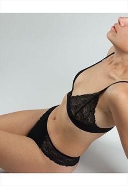 stretch lace soft cup triangle bra