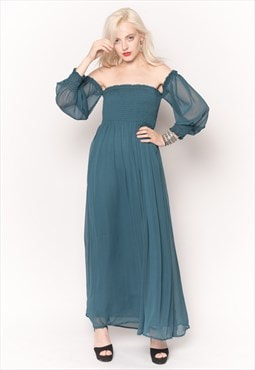 Off Shoulder Chiffon Maxi Dress with Long Sleeves in Blue