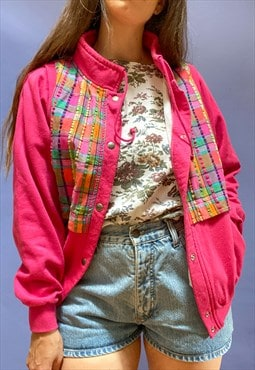 Vintage 80's Pink Checked Sweat Jacket - S/M