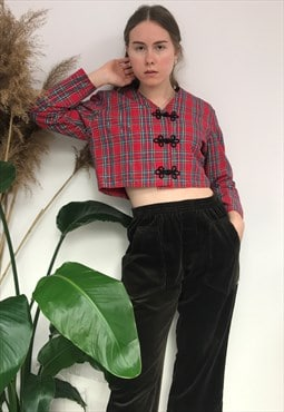 Vintage Red Checkered Cropped Jacket